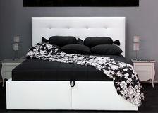 Black and white bed Stock Images