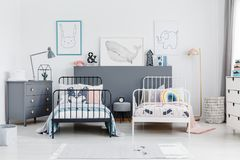 Black and white bed in siblings bedroom interior with grey cabin royalty free stock photo