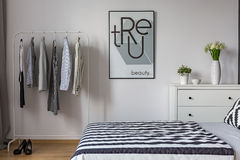 Black and white bedroom Royalty Free Stock Image