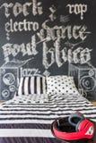 Black and white bedroom idea Stock Photo