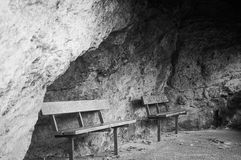 Black and white benches in a cove stock photo