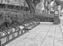 Black and white bicycle parking in the center of the city, ecolo Stock Photography