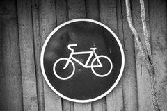 Black and White Bicycle Road Sign Royalty Free Stock Photo