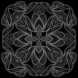 Black and white biker bandana . Vector print square. Stock Photos