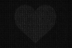 Black and white binary computer code background, with love heart Stock Images