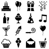 Black and White Birthday Icons Collection. Collection of 16 black and white birthday icons, isolated on white background. Eps file available Royalty Free Stock Photos