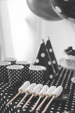 Black And White Birthday party decoration. Portrait of Black And White Birthday party decoration with full of cake and sweet candy Stock Photography