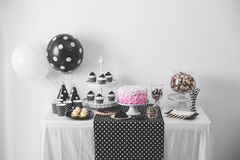 Black And White Birthday party decoration Royalty Free Stock Image