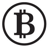 Black and white bitcoin. The icon for internet money. Stock Photography