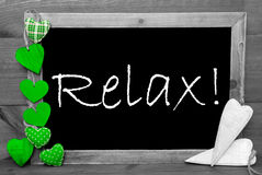 Black And White Blackbord, Green Hearts, Relax Stock Image
