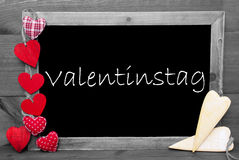 Black And White Blackbord, Hearts, Valentinstag Means Valentines Day Stock Photo