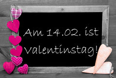 Black And White Blackbord, Pink Hearts, Valentinstag Means Valentines Day Stock Images