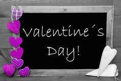Black And White Blackbord, Purple Hearts, Valentines Day Royalty Free Stock Image
