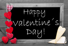 Black And White Blackbord, Red Hearts, Happy Valentines Day Stock Photo
