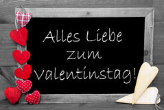 Black And White Blackbord, Red Hearts, Valentinstag Means Valentines Day Royalty Free Stock Photo