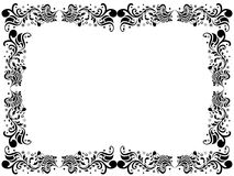 Black and white blank border with floral elements. Hand drawing vector artwork Stock Photos
