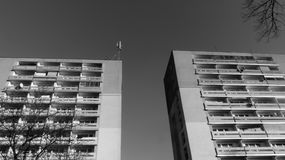 Black and white block of flats Royalty Free Stock Photos
