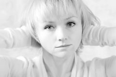 Black and white blond girl Royalty Free Stock Photography