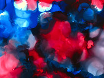 Black white blue bright red paint merging spots Stock Images