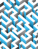 Black, white and blue maze, labyrinth. Endless pattern Royalty Free Stock Images