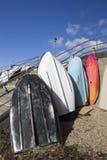 Colourful boats on Thorpe Bay Beach, Essex, England Stock Photo
