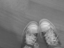 Black and white blurred feet Stock Image