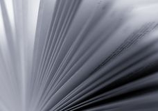 Black and White Blurred Pages of a Book. Open book with pages fanned out toward the light Royalty Free Stock Photography