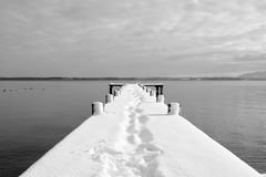 Black-and-white, Boardwalk, Boat Royalty Free Stock Photo