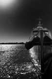 Black and white Boat Stock Image