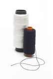 Black and white bobbins of threads Stock Photography