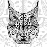 The black and white bobcat print with ethnic zentangle patterns. Stock Photo