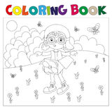 Black and white book-coloring the boy plays in the pilot. Coloring book the boy plays in the pilot vector illustration