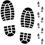 Black and white boot prints Royalty Free Stock Image