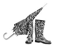 Black and white boots and umbrella Royalty Free Stock Image