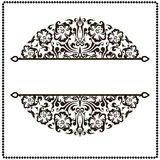 Black and white border frame with floral patterns Royalty Free Stock Image