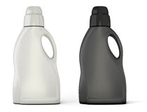 Black and white bottle template for detergent. On white background. Bottle template for detergent for your design. 3d illustration Royalty Free Stock Photography