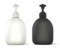Black and white bottles template for soap Royalty Free Stock Image