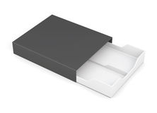 Black-and-white box of laminated cardboard on a white background Stock Photos