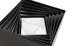 Black white box open spiral gift isolated Stock Photo