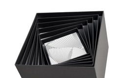 Black white box open spiral gift isolated Stock Image