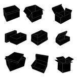 Black and white boxes Stock Image