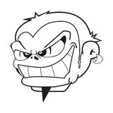 Black and white boy with evil grin. Cartoon illustration vector illustration