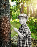 Black and White Boy Painting Forest Color Royalty Free Stock Image