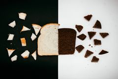 Black and white bread destroy stock photography
