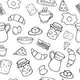 Black and white breakfast theme. Breakfast seamless pattern in doodle style Stock Photos