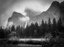 Black and White Bridalveil Falls Royalty Free Stock Images