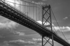 Black and White Bridge. With clouds in the sky Royalty Free Stock Photography