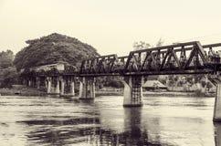 Black and white bridge over the River Kwai Stock Photo