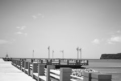 Black and white Bridge and sea Royalty Free Stock Photography