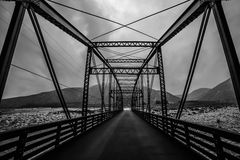 Black and White Bridge. Vintage bridge crossing the Santa Anna River as it leaves the mountains Stock Images